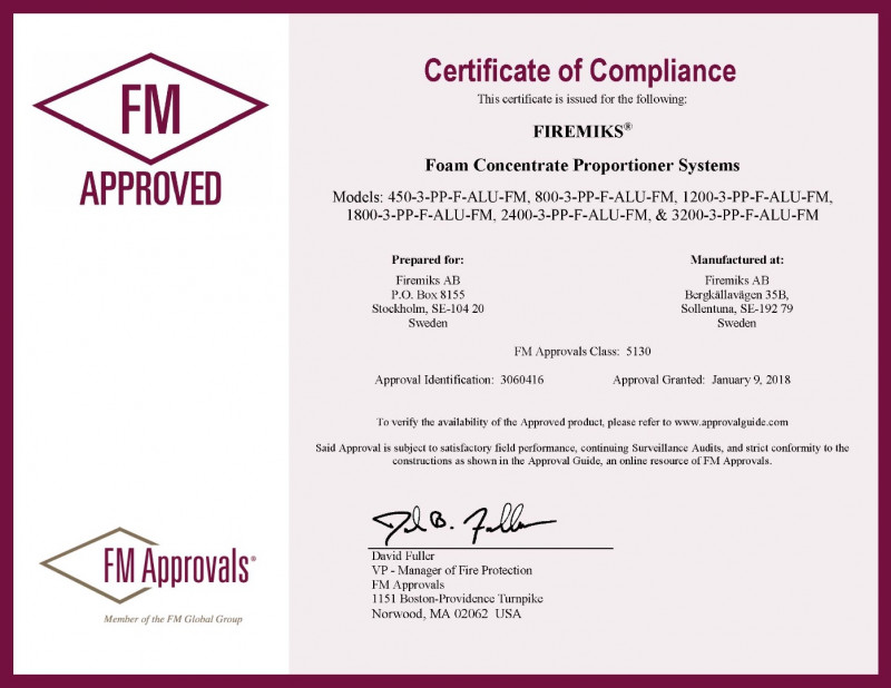 Factory Mutual (FM) certification